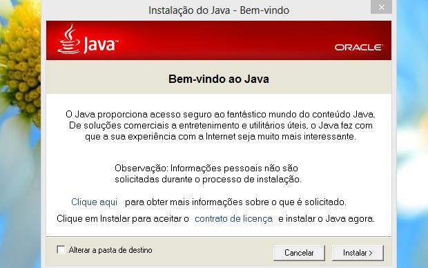 Instalando nova versão do Java (Foto: Reprodução/Helito Bijora)
