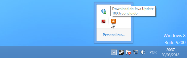 Download do Java em andamento (Foto: Reprodução/Helito Bijora)