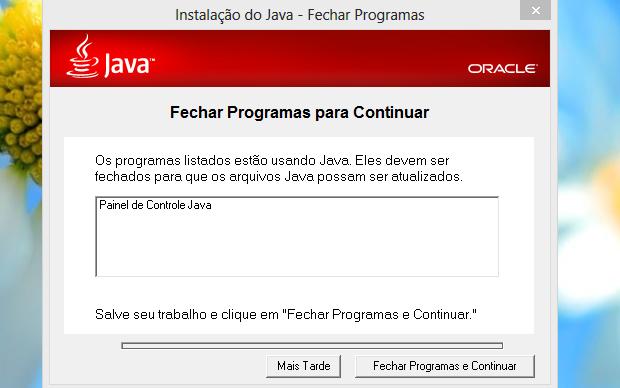 Para continuar a instalação, feche os programas necessários (Foto: Reprodução/Helito Bijora)