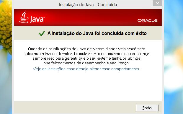 Java atualizado com sucesso (Foto: Reprodução/Helito Bijora)