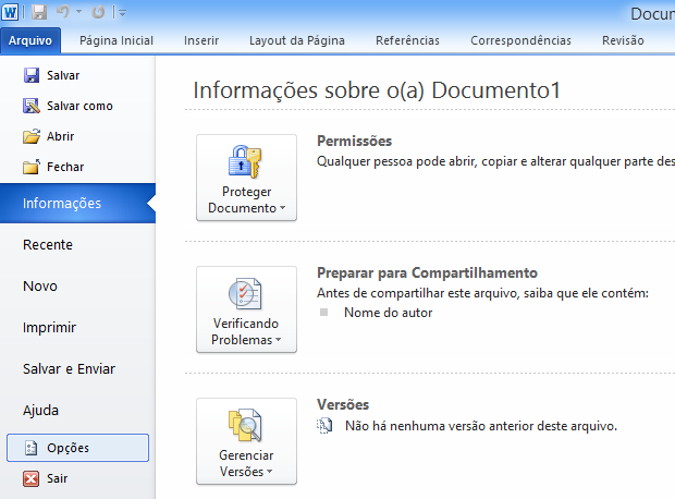 Menu Arquivo do Office 2010 (Foto: Reprodução/Helito Bijora)