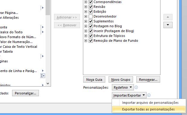 Exportando personalizações (Foto: Reprodução/Helito Bijora)