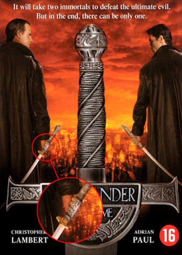 """Cartaz de """"Highlander"""" com detalhe do erro de edição de imagem (Foto: Reprodução)"""