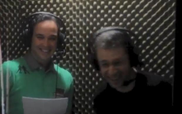 Caio Ribeiro e Tiago Leifert nas gravações de FIFA 13 (Foto: Reprodução)