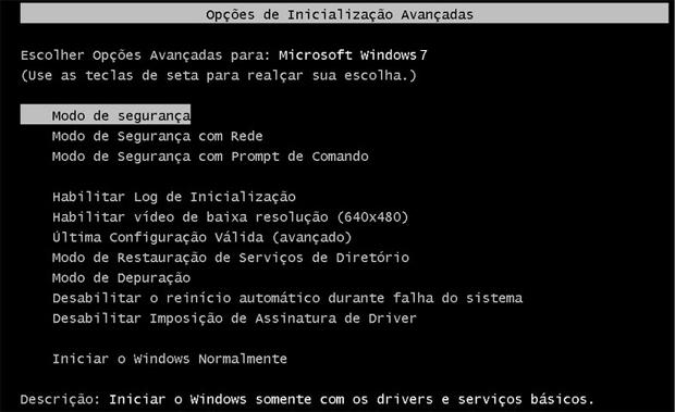 Modo de segurança no Windows 7 (Foto: Reprodução / Flávio Renato)