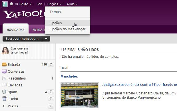 Opções do Yahoo! Mail (Foto: Reprodução/Helito Bijora)