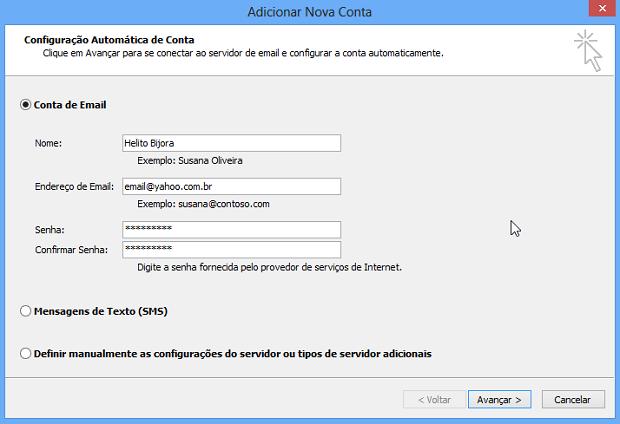 Configurando uma conta do Yahoo! (Foto: Reprodução/Helito Bijora)