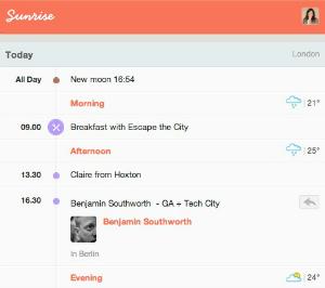 SunRise começa o dia informando principais tarefas do usuário (Foto: Reprodução)