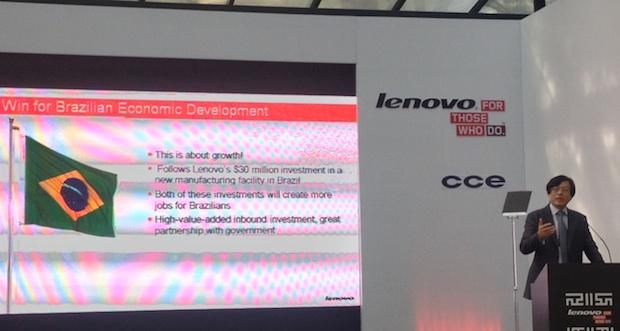 Yang Yuanqing, CEO da Lenovo em evento na cidade de São Paulo (Foto: Nick Ellis/TechTudo)