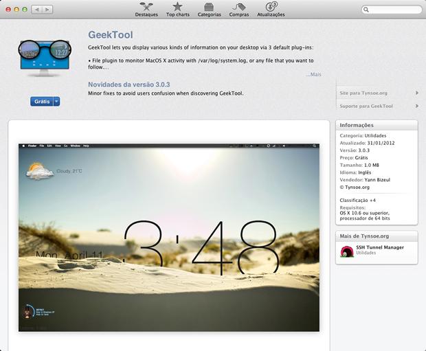 Instalação do GeekTool através da AppStore (Foto: Reprodução / Pedro Pisa)