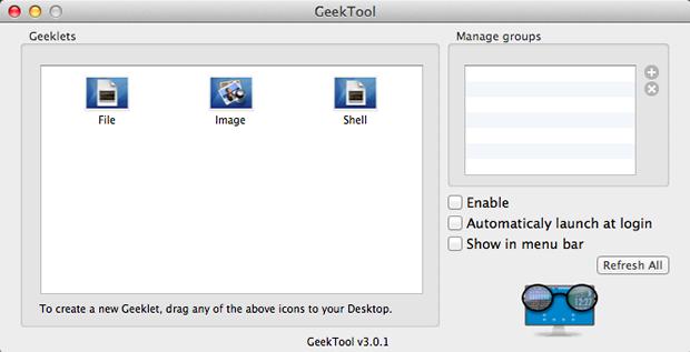 Janela inicial do GeekTool (Foto: Reprodução / Pedro Pisa)