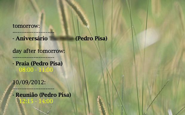 Exibição dos próximos eventos do iCal na área de trabalho do Mac (Foto: Reprodução / Pedro Pisa)