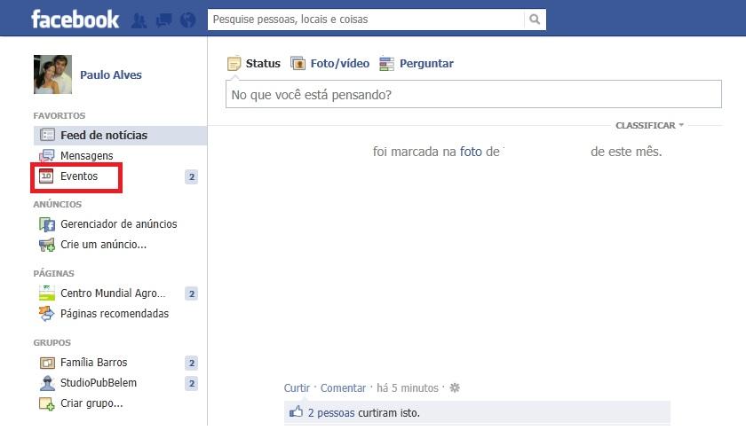Acessando a página de eventos do Facebook (Foto: Reprodução/Paulo Alves)