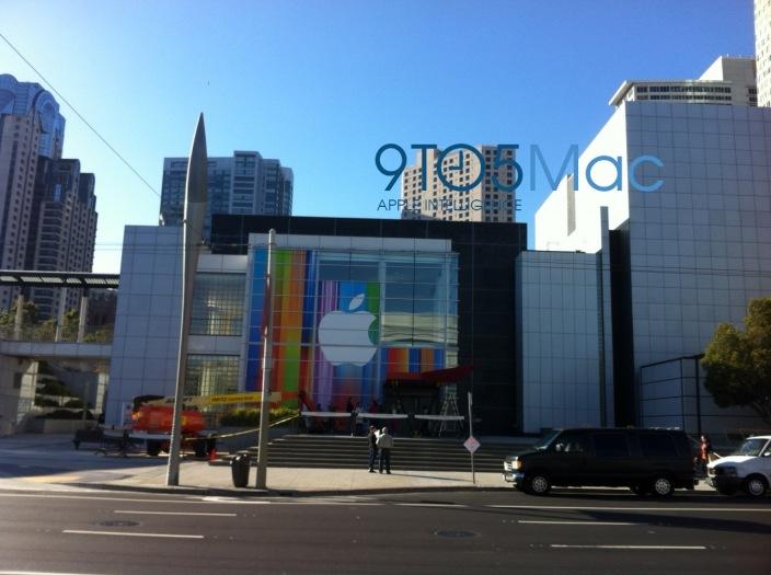 Yerba Buena Center, em São Francisco, já está sendo preparado para o evento da Apple (Foto: Reprodução/9to5Mac)