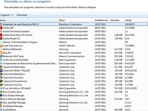Lista de programas salvos no seu computador (Foto Reprodução Verônica Vasque)