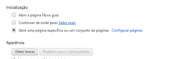 Op&#231;&#245;es de inicializa&#231;&#227;o do Chrome (Foto: Reprodu&#231;&#227;o/Helito Bijora) 