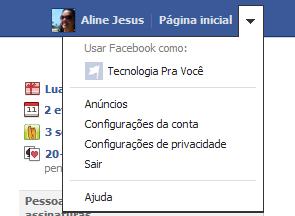 Acessando as configurações de conta do Facebook (Foto: Aline Jesus/Reprodução)