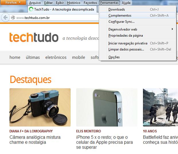 Acessando a janela de complementos do Firefox (Foto: Reprodução/Edivaldo Brito)
