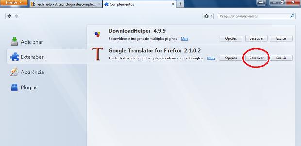 Desativando um complemento do Firefox (Foto: Reprodução/Edivaldo Brito)
