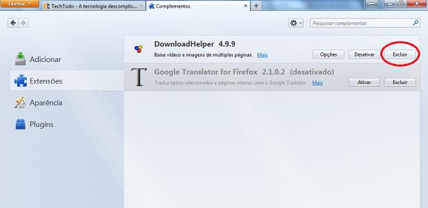 Excluindo um complemento do Firefox (Foto: Reprodução/Edivaldo Brito)