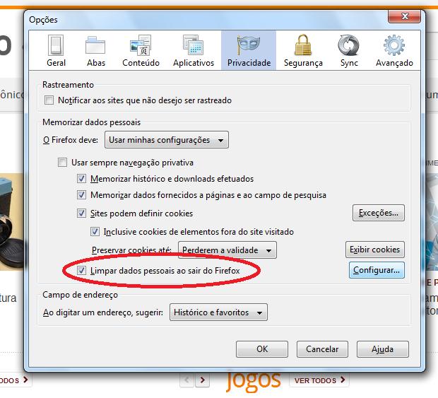 Ativando a limpeza de dados ao sair do Firefox (Foto: Reprodução/Edivaldo Brito)