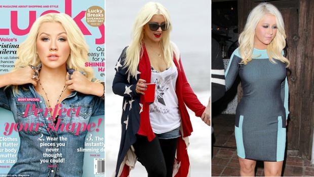 Montagem mostra diferença no busto real de Aguilera para capa da revista (Foto: Reprodução)