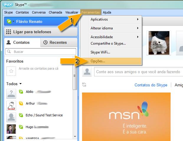 Acessando opções no Skype (Foto: reprodução / Flávio Renato)