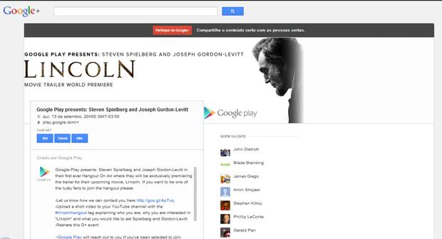 """Steven Spielberg participará de Hangout contando sobre seu novo filme """"Lincoln"""" (Foto: Reprodução)"""