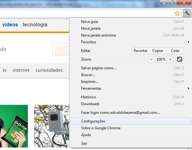 Acessando as configurações do Chrome (Foto: Reprodução/Edivaldo Brito)
