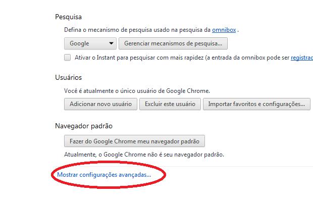 Acessando as configurações avançadas do Chrome (Foto: Reprodução/Edivaldo Brito)