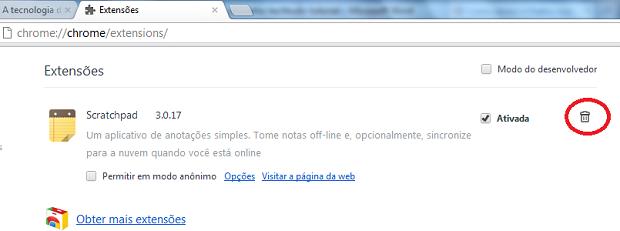 Exluindo uma extensão do Chrome (Foto: Reprodução/Edivaldo Brito)