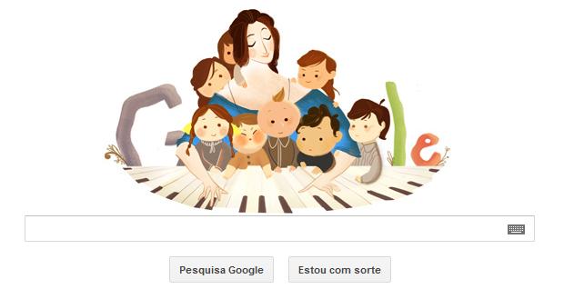 A pianista e compositora romântica Clara Schumann é homenageada pelo Google (Foto: Reprodução/Google)