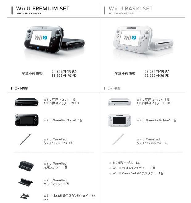 Tabela japonesa compara os modelos do Nintendo Wii U (Foto: Divulgação)