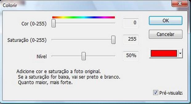É possível alterar a saturação da cor (Foto: Reprodução/ Raquel Freire)