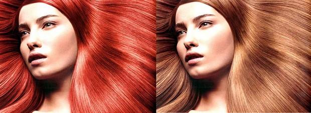Cor vermelha é retirada do rosto, ficando apenas nos cabelos (Foto: Reprodução/ Raquel Freire)