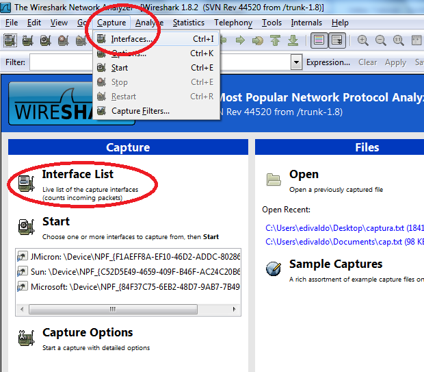 Acessando a lista de interfaces (Foto: Reprodução/Edivaldo Brito)