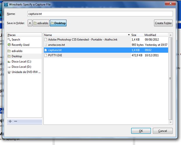 Selecionado ou criando o arquivo que guardará as capturas da interface (Foto: Reprodução/Edivaldo Brito)