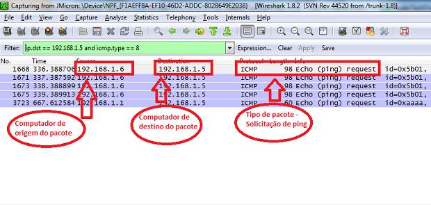 Wireshark mostrando apenas solicitações de ping destinadas ao seu computador (Foto: Reprodução/Edivaldo Brito)