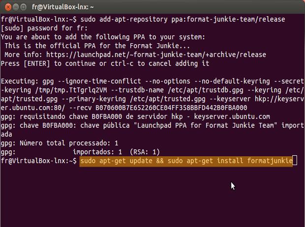 Comando para atualizar sistema e em seguida, baixar e instar o Format Junkie (Foto: reprodução / Flávio Renato)