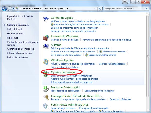 """Acessando """"Opções de Energia"""" no painel de controle no Windows 7 (Foto: Reprodução/Edivaldo Brito)"""