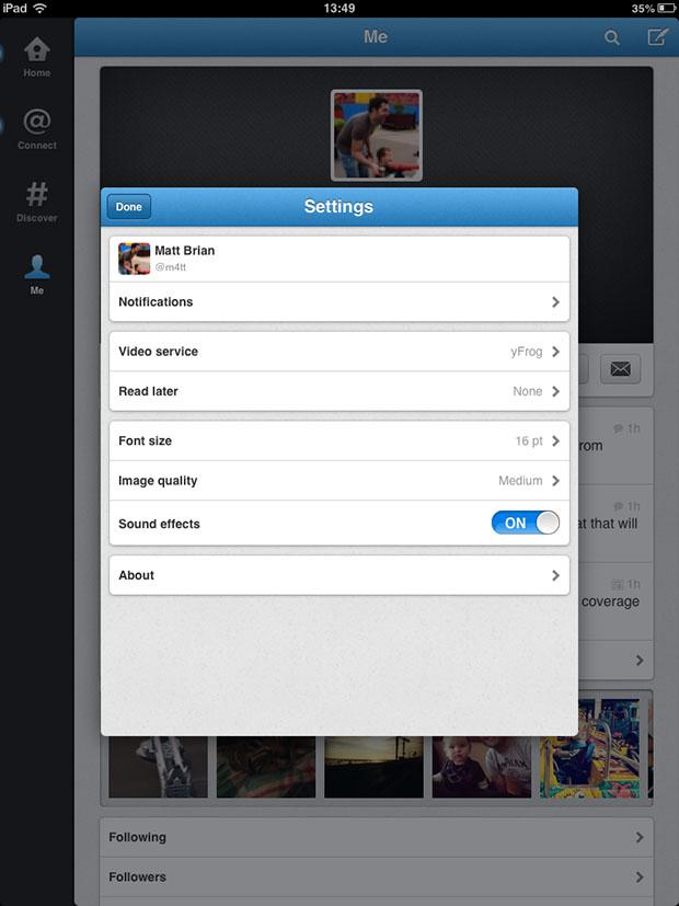 Agora o usuário não pode escolher o serviço de upload no iOS (Foto: Reprodução/InvernoDreaming)