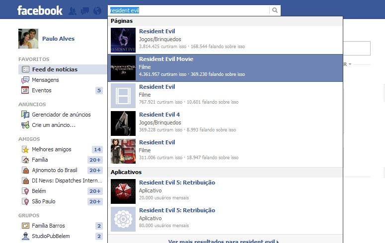 Busca por filmes no Facebook poderá, no futuro, mostrar recomendações de seus amigos (Foto: Reprodução/Paulo Alves)