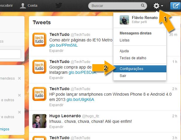 Configurações Twitter (Foto: reprodução / Flávio Renato)