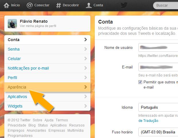 Aparência no Twitter (Foto: reprodução / Flávio Renato)