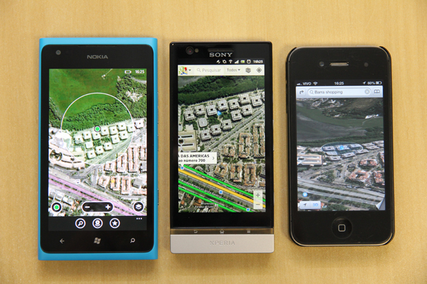 Mapas da Apple, Google e Nokia (Foto: TechTudo/Marlon Câmara)