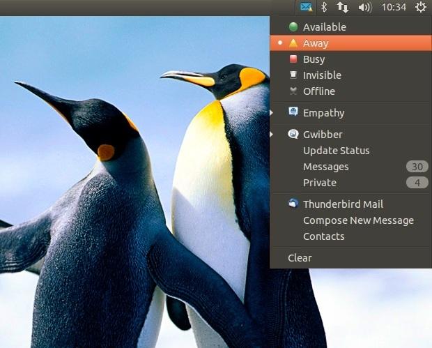 Menu de mensagens do Ubuntu mostra status de bate-papo (Foto: Reprodução/OMG UBuntu)