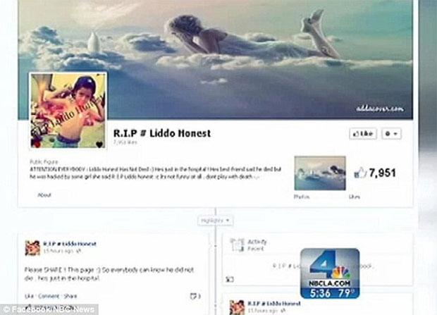 """Página foi criada para homenagear o menino """"falecido"""" (Foto: Reprodução)"""