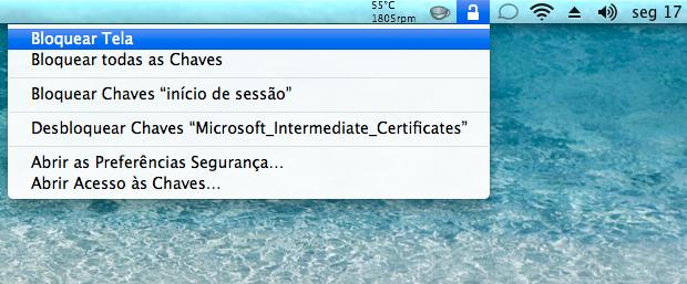 Bloqueando a tela do Mac (Foto: Reprodução/Helito Bijora)
