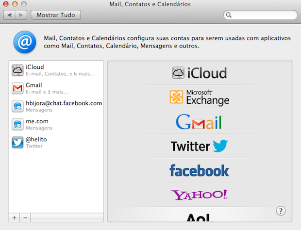 Integrando o Facebook ao Mac (Foto: Reprodução/Helito Bijora)