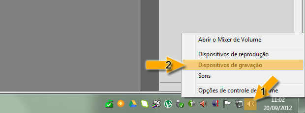 Dispositivos de gravação no Windows 7 (Foto: reprodução / Flávio Renato)